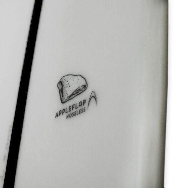 Appletree White Line kiteboard Appleflap Noseless logo detail