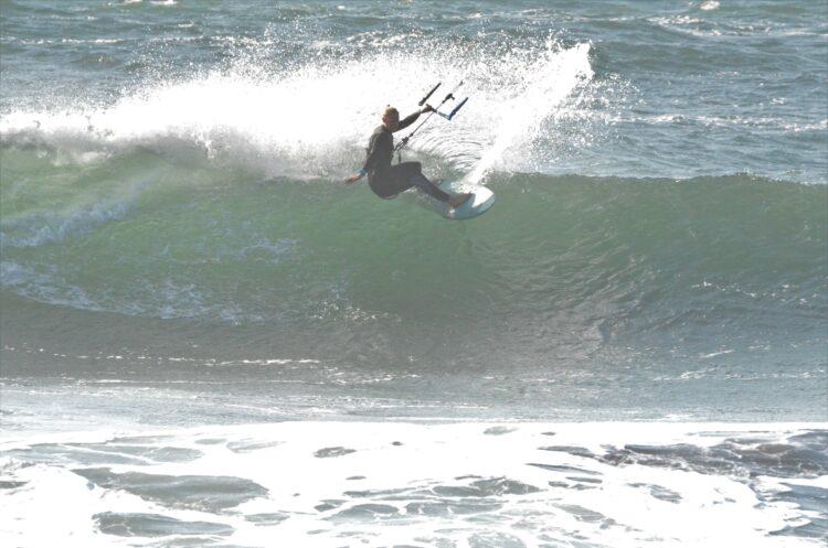Wave kitesurfing in chile